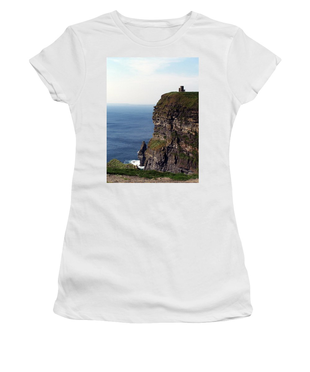 Irish Women's T-Shirt (Athletic Fit) featuring the photograph View Of Aran Islands And Cliffs Of Moher County Clare Ireland by Teresa Mucha