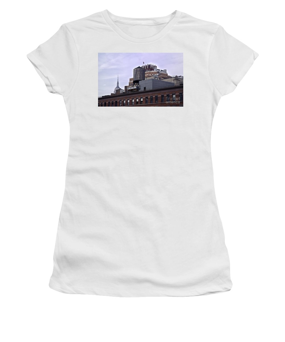 Water Women's T-Shirt featuring the photograph View Of Water Tank From High Line Park by Madeline Ellis