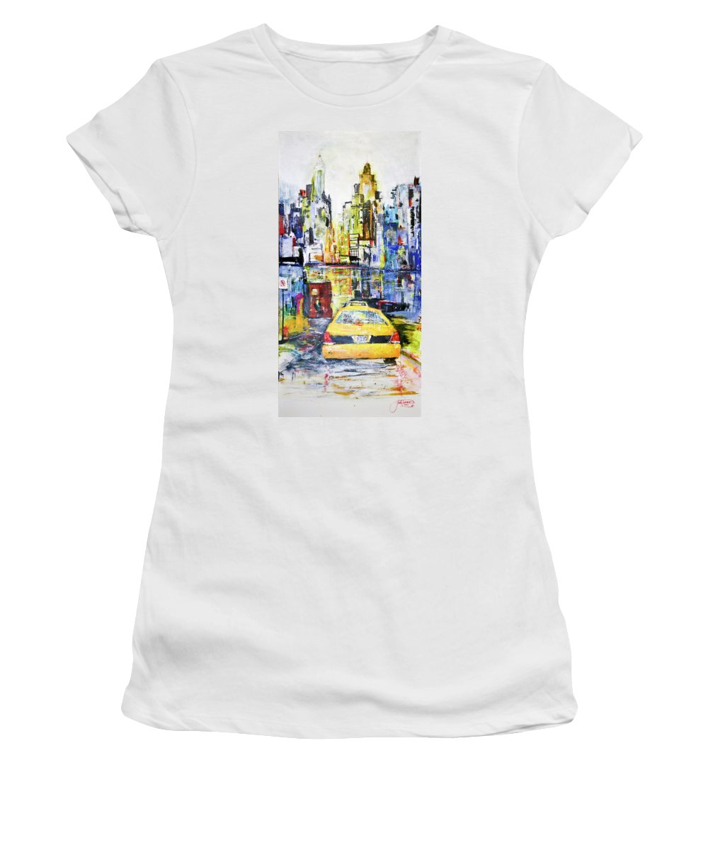 Taxi Women's T-Shirt (Athletic Fit) featuring the painting View To Manhattan by Jack Diamond