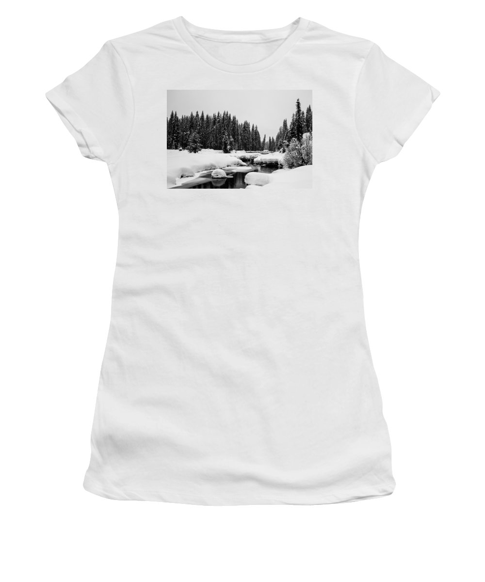 Mccall Women's T-Shirt (Athletic Fit) featuring the photograph View Upriver by Angus Hooper Iii