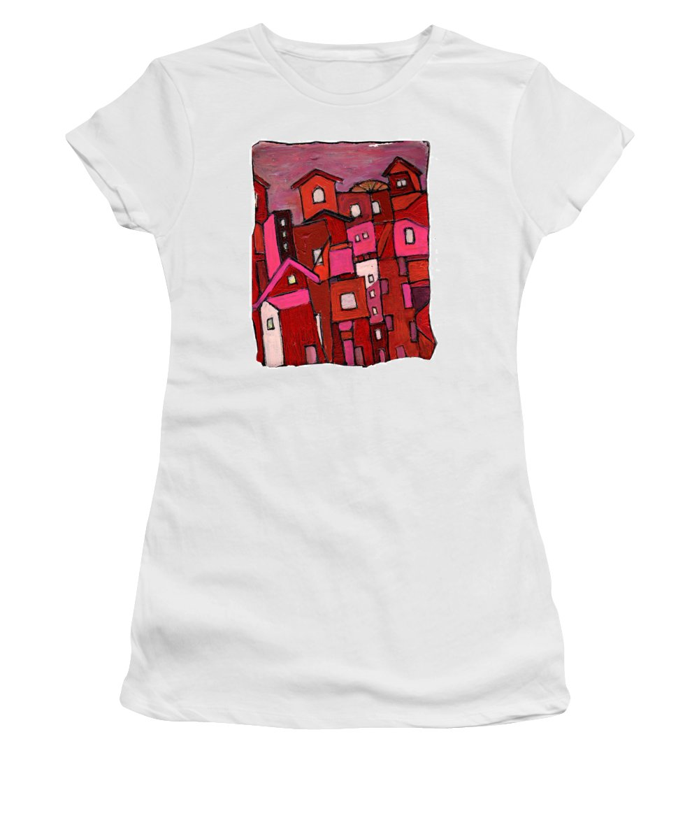Village Women's T-Shirt (Athletic Fit) featuring the painting Village In Pink by Wayne Potrafka