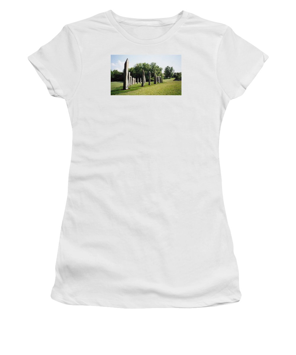 Historic Sculpture From 1999 Women's T-Shirt featuring the sculpture Vinland by Jarle Rosseland