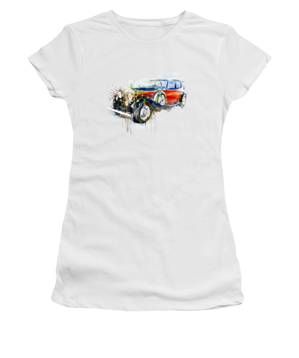 Vintage Women's T-Shirt featuring the painting Vintage Automobile by Marian Voicu