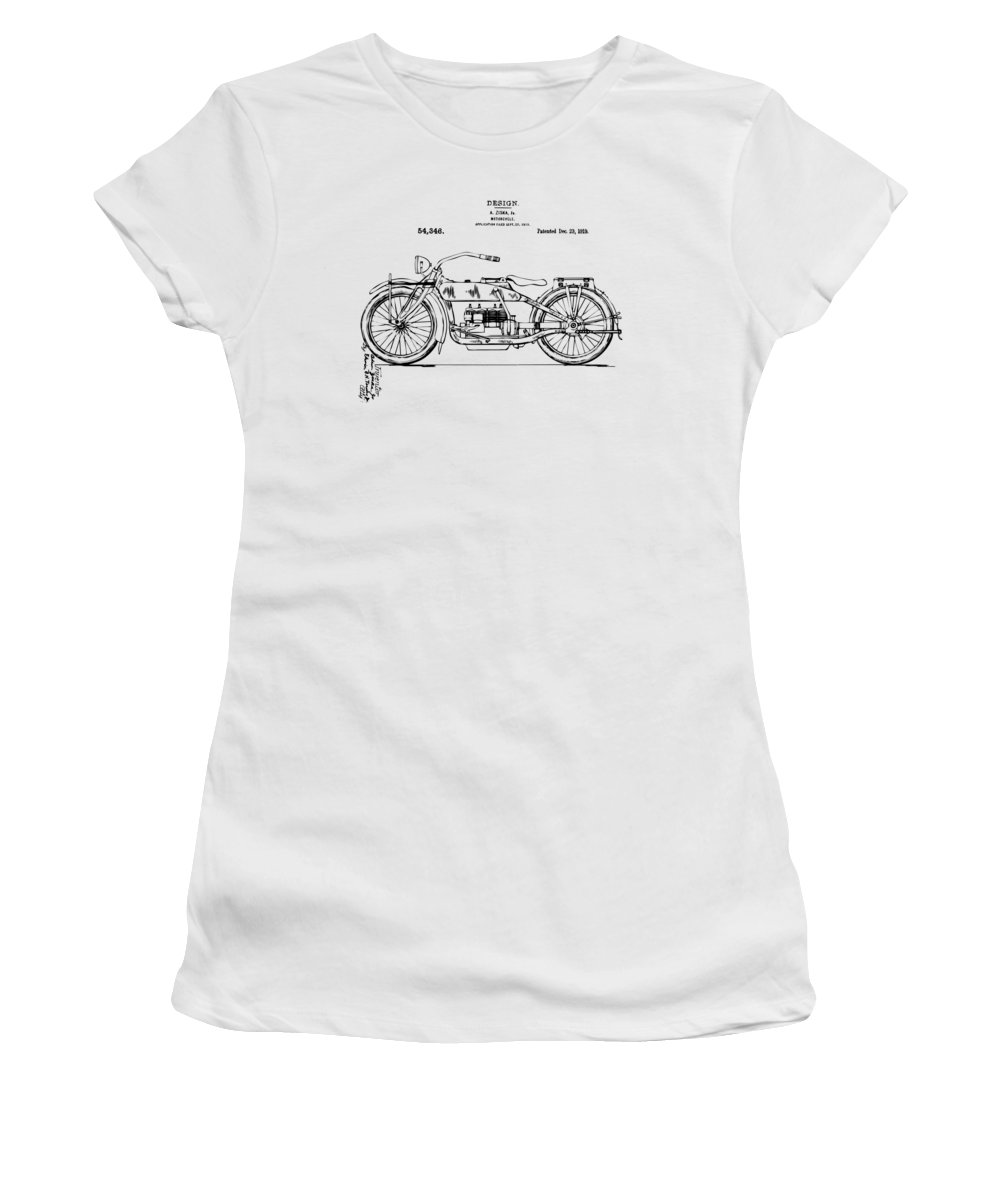 Harley-davidson Women's T-Shirt featuring the digital art Vintage Harley-davidson Motorcycle 1919 Patent Artwork by Nikki Smith