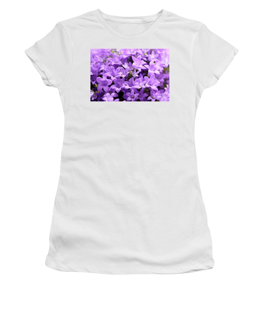 Horizontal Women's T-Shirt (Athletic Fit) featuring the photograph Violet Dream Vii by Stefania Levi