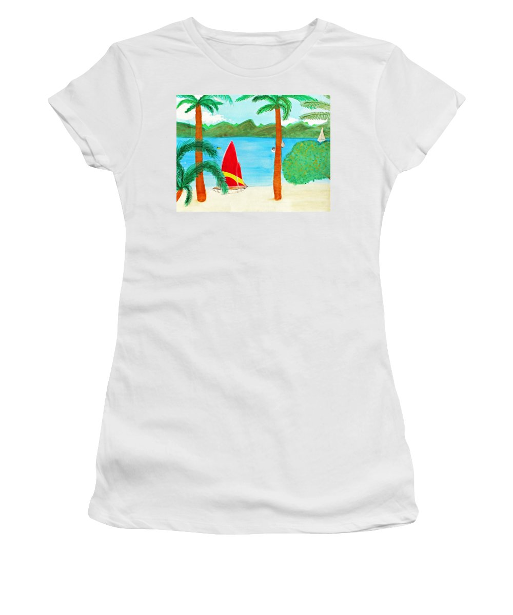 Art Women's T-Shirt featuring the painting Virgin Island Memories by Lee Serenethos