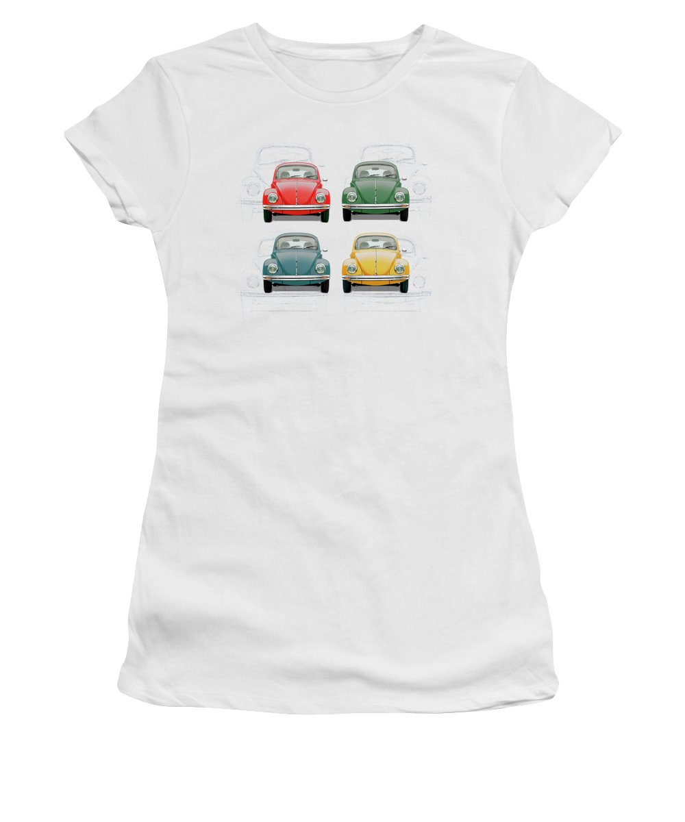 'volkswagen - Bugs And Buses' Collection By Serge Averbukh Women's T-Shirt featuring the digital art Volkswagen Type 1 - Variety of Volkswagen Beetle on Vintage Background by Serge Averbukh