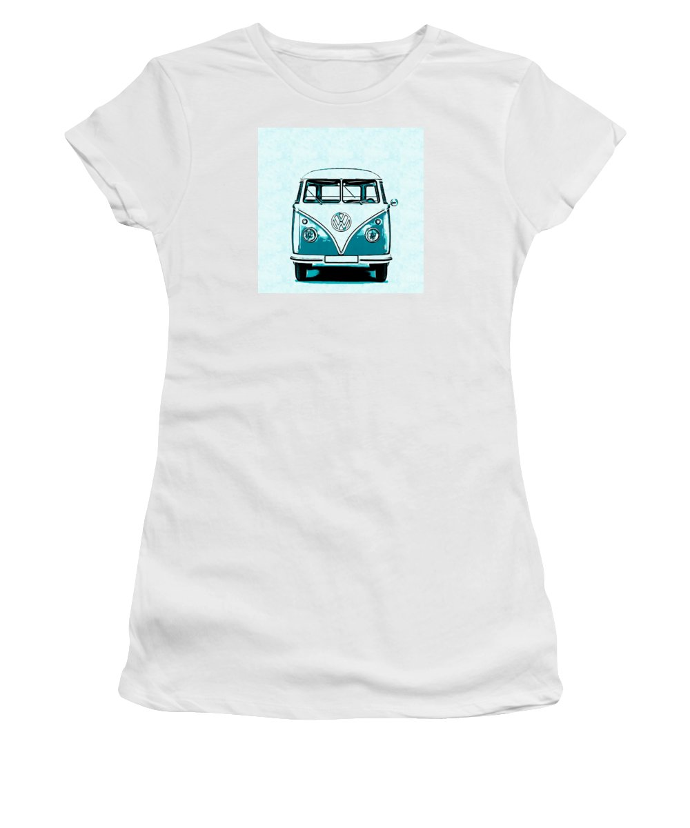 Vw Women's T-Shirt (Athletic Fit) featuring the digital art Vw Van Graphic Artwork by Edward Fielding