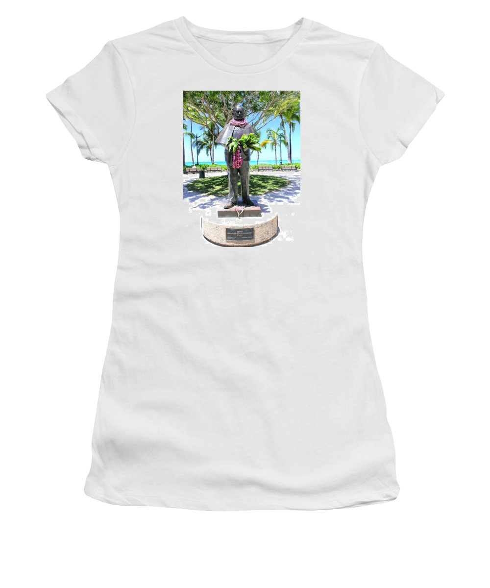 Statue Women's T-Shirt (Athletic Fit) featuring the photograph Waikiki Statue - Prince Kuhio by Mary Deal