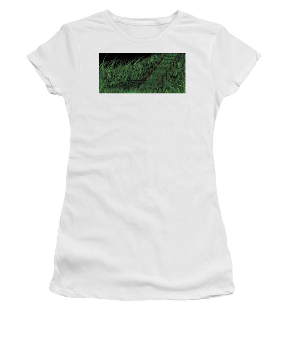 Hill Women's T-Shirt (Athletic Fit) featuring the painting Walk In Grass Field In Lovely Night by Pritam Shaw
