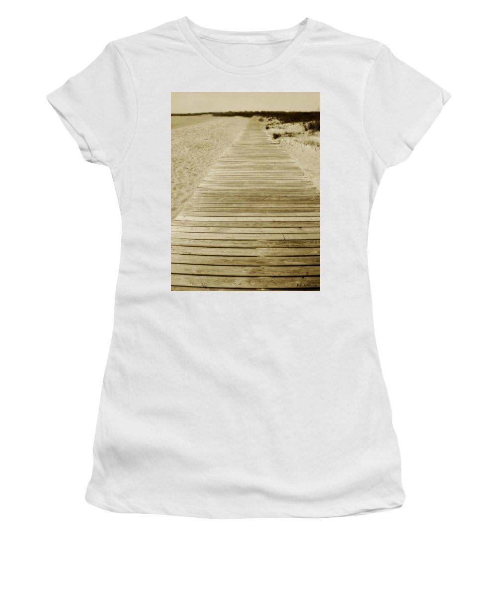 Beach Women's T-Shirt (Athletic Fit) featuring the photograph Walking Into Forever by RC DeWinter