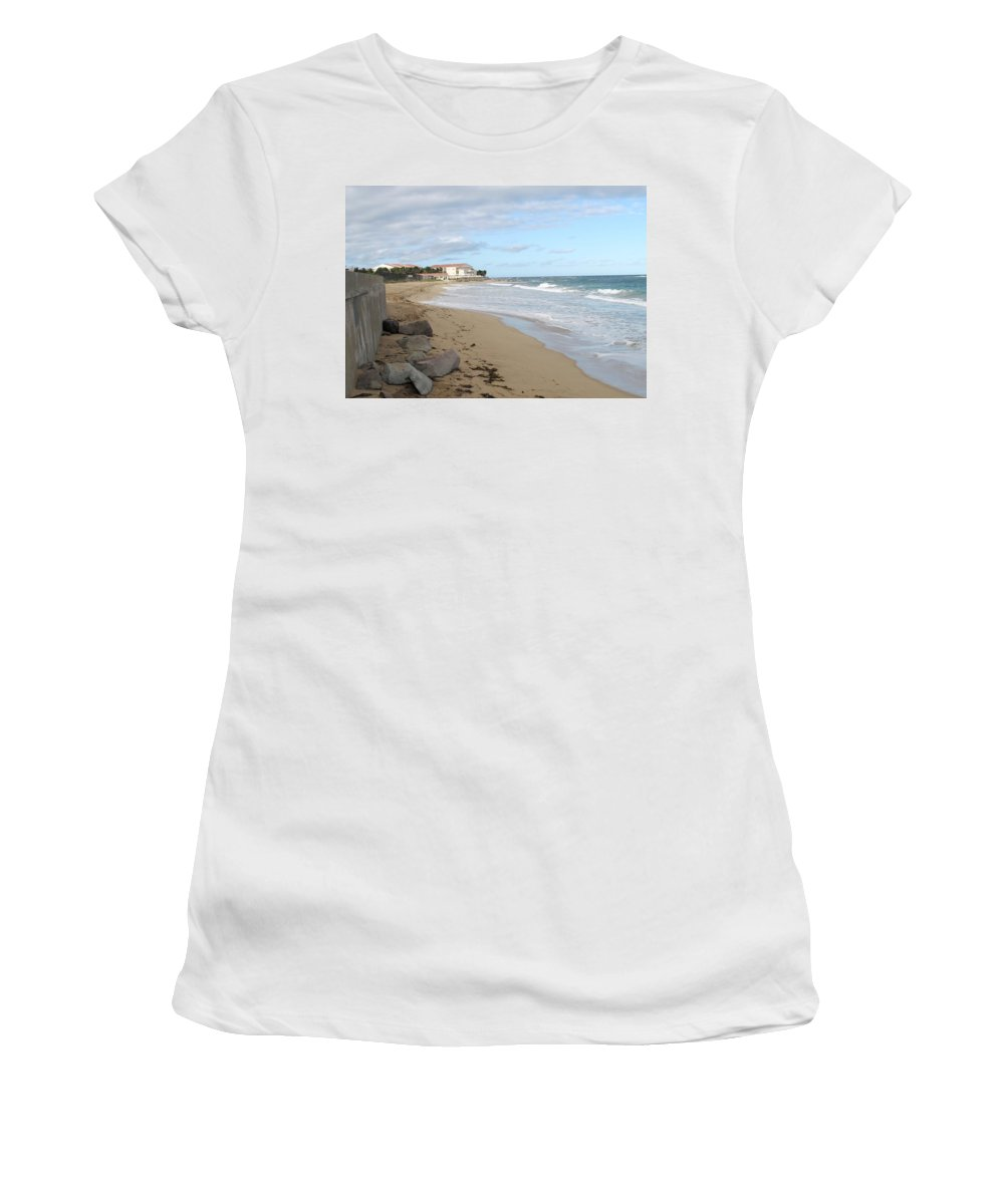 Clouds Women's T-Shirt (Athletic Fit) featuring the photograph Walking The Beach In St Kitts by Ian MacDonald