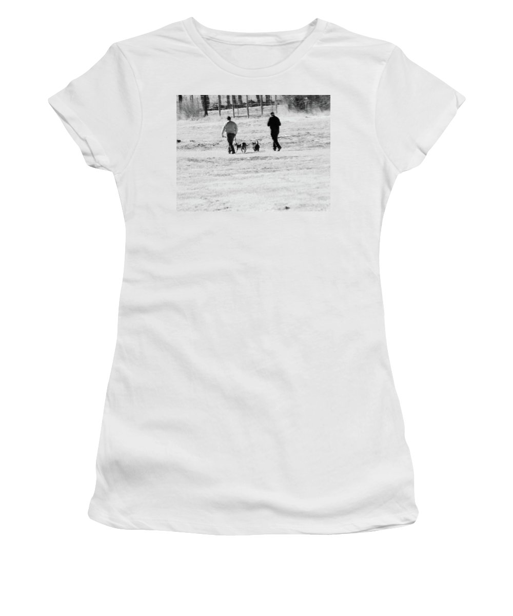 Abstract Women's T-Shirt featuring the photograph Walking The Dogs by Lenore Senior