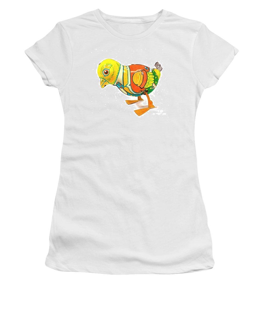 Drawing Women's T-Shirt (Athletic Fit) featuring the drawing Walkingbird by Glenda Zuckerman