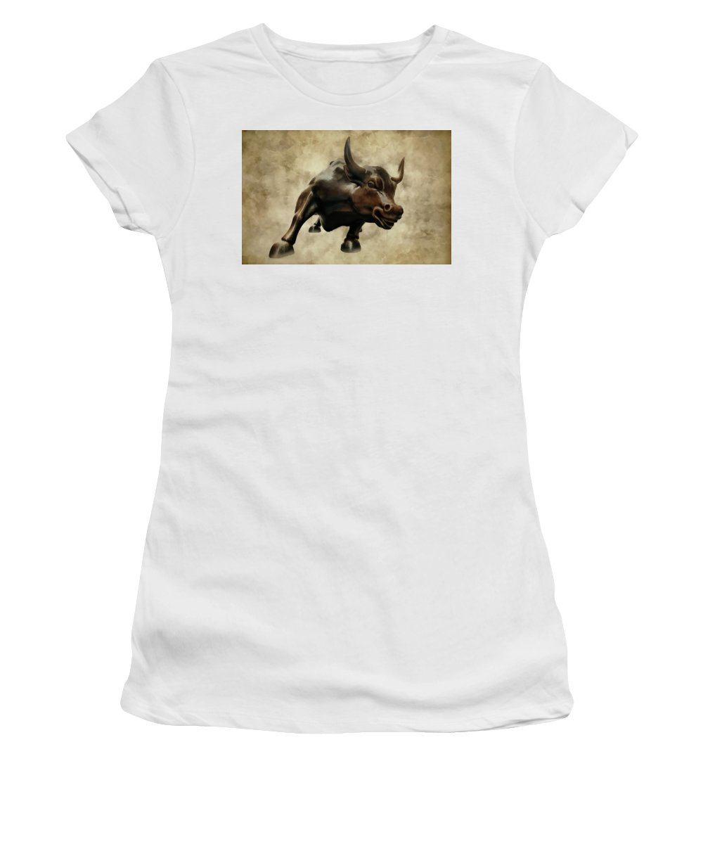 Wall Street Bull Women's T-Shirt (Athletic Fit) featuring the photograph Wall Street Bull V by Athena Mckinzie