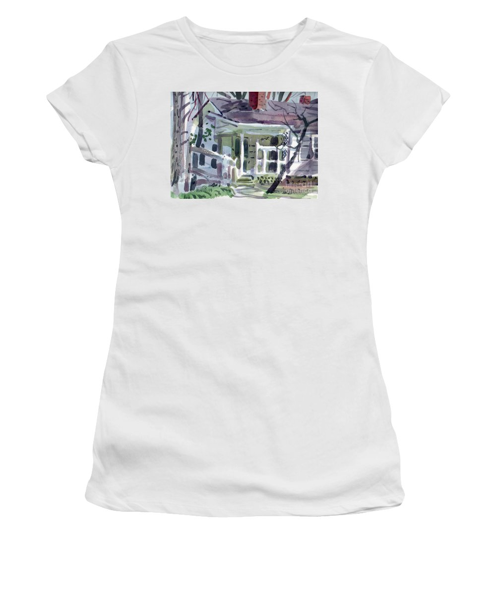 Wallis House Women's T-Shirt (Athletic Fit) featuring the painting Wallis House by Donald Maier