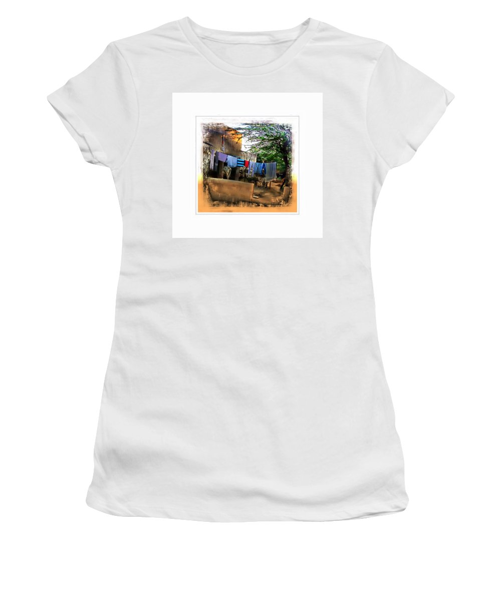 Washing Line Women's T-Shirt (Athletic Fit) featuring the photograph Washing Line And Cows Indian Village Rajasthani 1b by Sue Jacobi