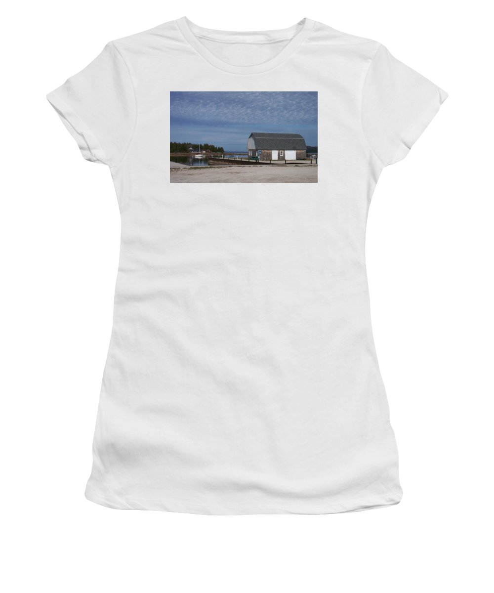 Washington Island Women's T-Shirt (Athletic Fit) featuring the photograph Washington Island Harbor 1 by Anita Burgermeister