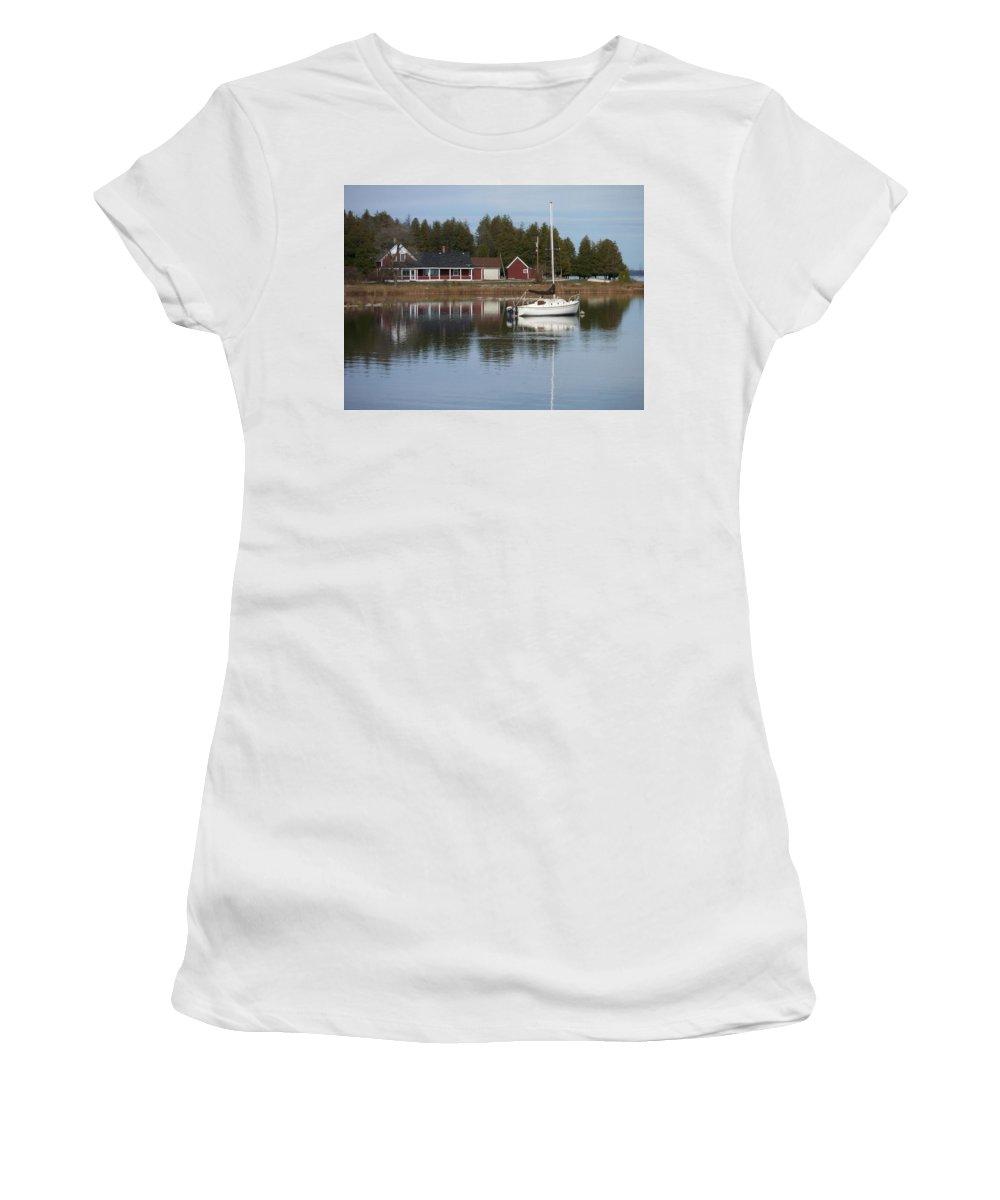 Washington Island Women's T-Shirt (Athletic Fit) featuring the photograph Washington Island Harbor 4 by Anita Burgermeister