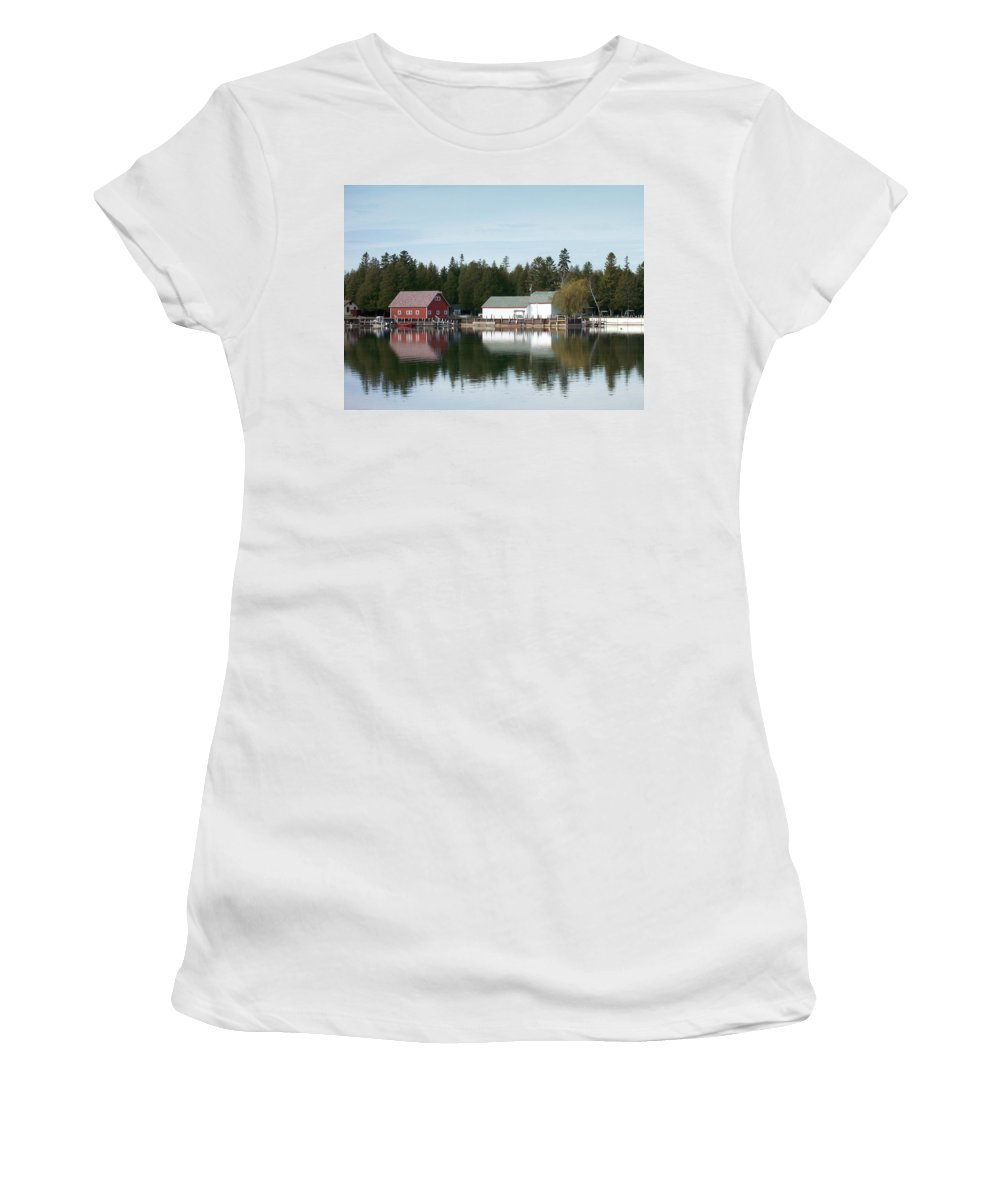 Washington Island Women's T-Shirt (Athletic Fit) featuring the photograph Washington Island Harbor 7 by Anita Burgermeister