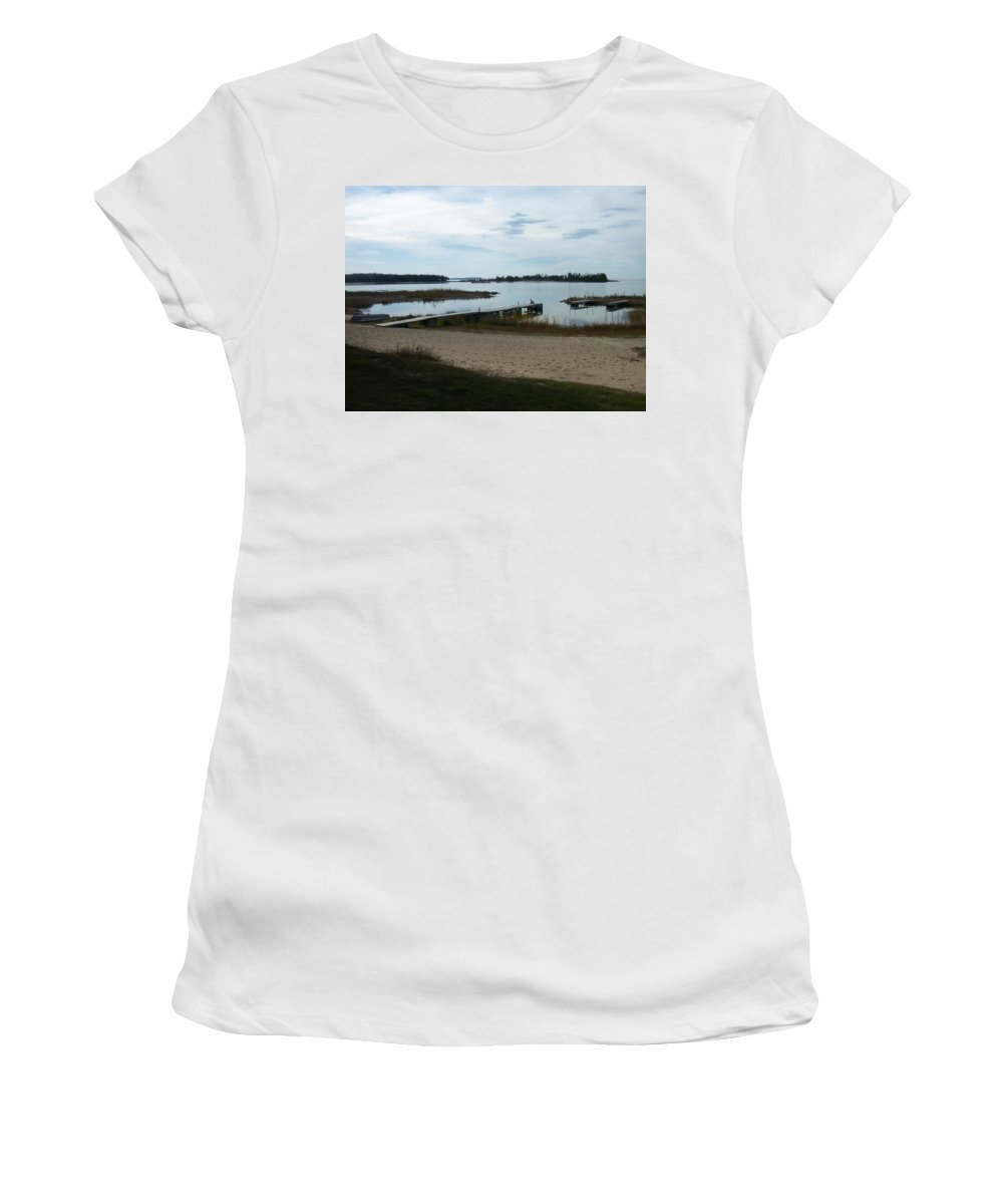 Washington Island Women's T-Shirt (Athletic Fit) featuring the photograph Washington Island Shore 2 by Anita Burgermeister