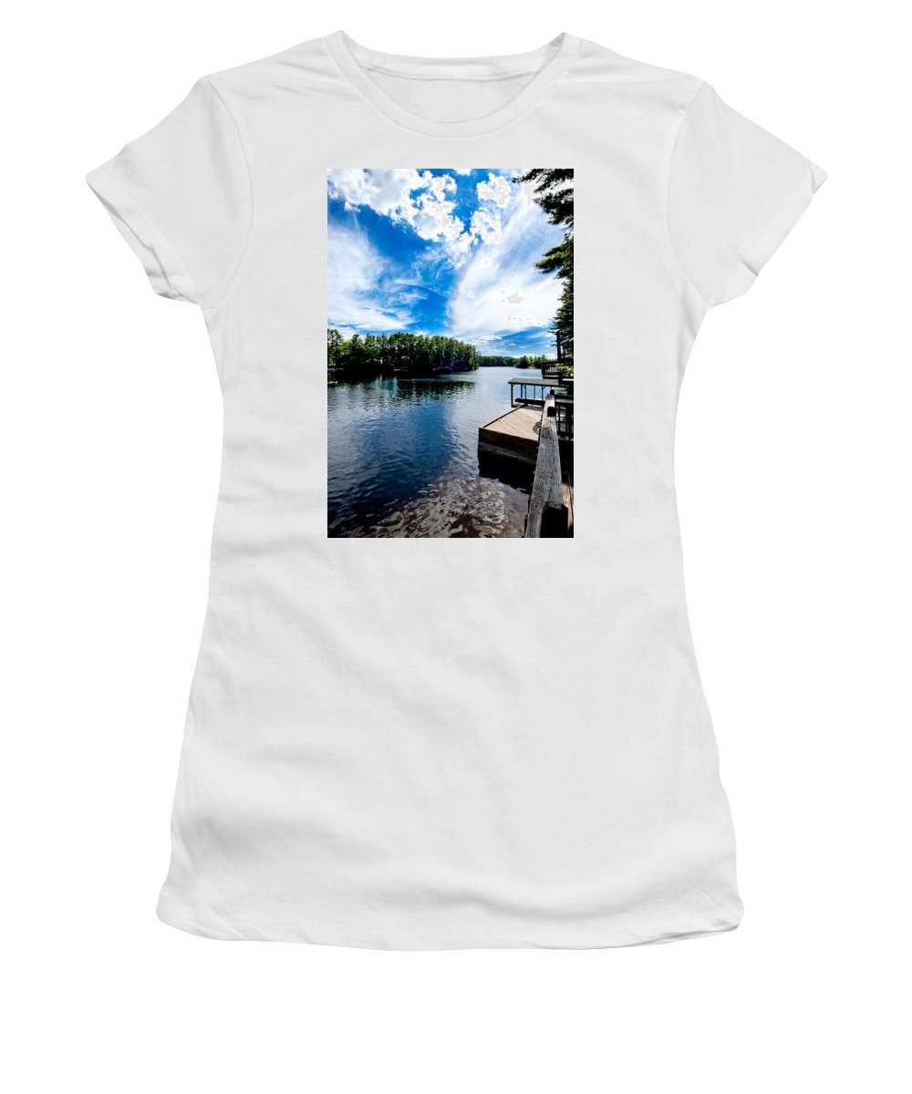 Water Women's T-Shirt (Athletic Fit) featuring the photograph Water Mirrors Sky by Greg Fortier