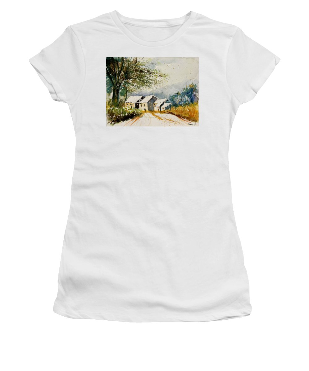 Landscape Women's T-Shirt (Athletic Fit) featuring the painting Watercolor 010708 by Pol Ledent