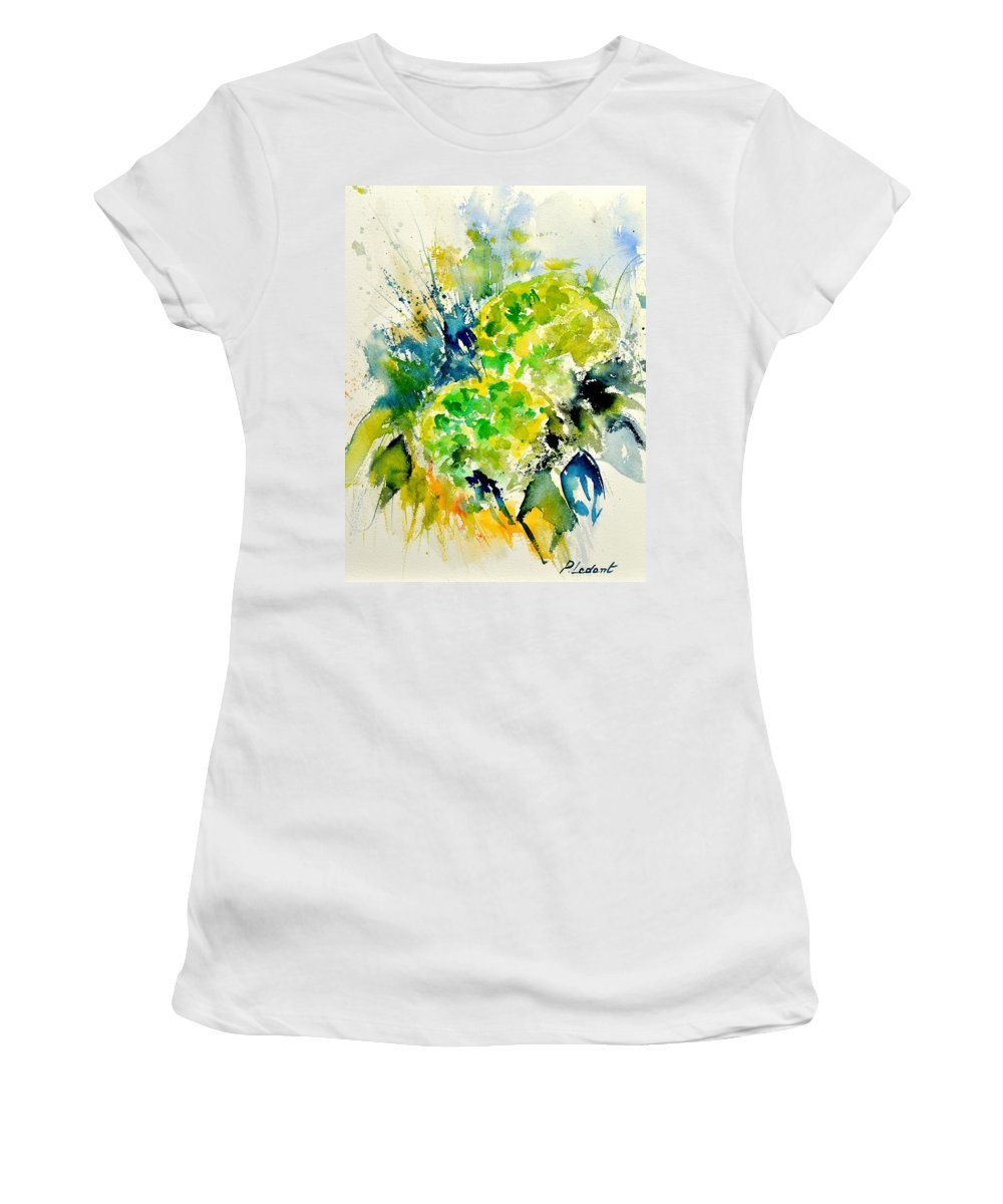 Flowers Women's T-Shirt (Athletic Fit) featuring the painting Watercolor 017050 by Pol Ledent