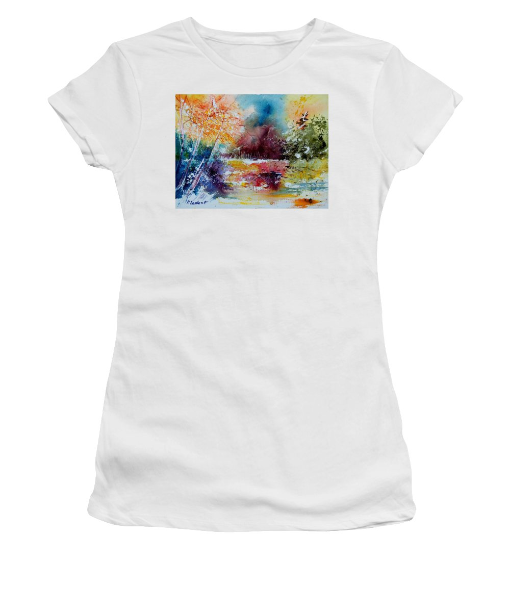Pond Women's T-Shirt (Athletic Fit) featuring the painting Watercolor 140908 by Pol Ledent