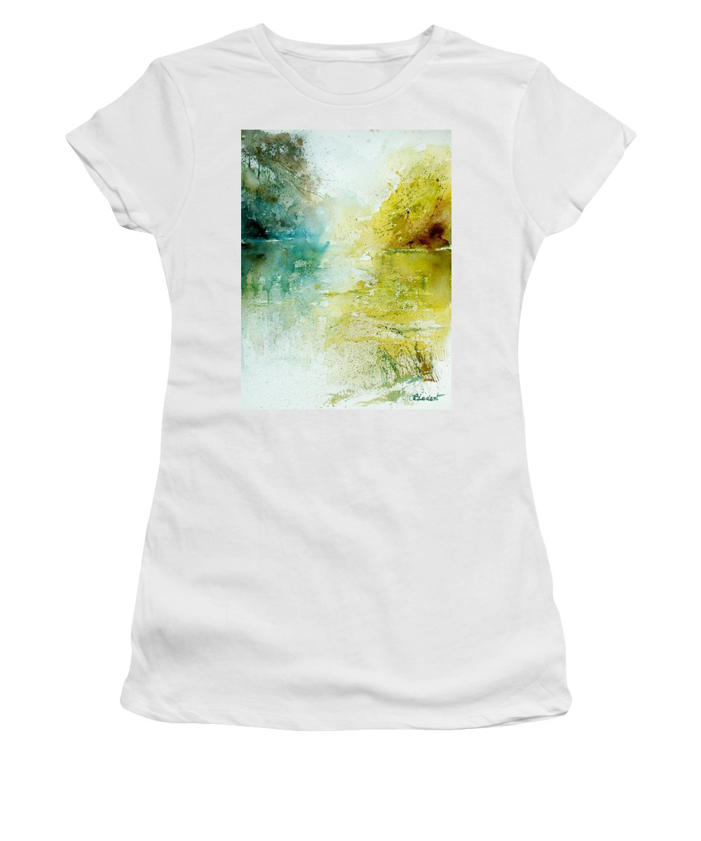 Pond Nature Landscape Women's T-Shirt featuring the painting Watercolor 24465 by Pol Ledent