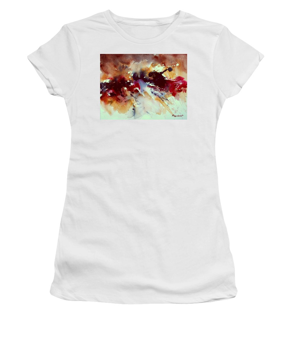 Abstract Women's T-Shirt (Athletic Fit) featuring the painting Watercolor 301107 by Pol Ledent