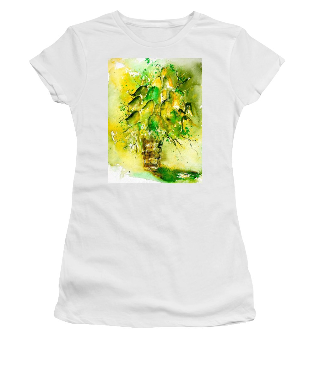Flowers Women's T-Shirt (Athletic Fit) featuring the painting Watercolor 90801 by Pol Ledent