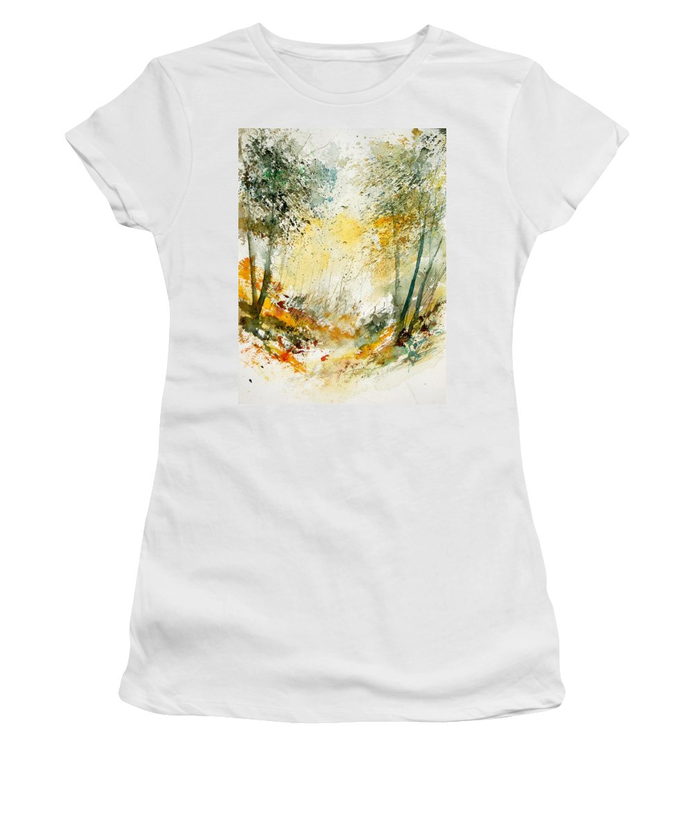 Tree Women's T-Shirt featuring the painting Watercolor 908021 by Pol Ledent