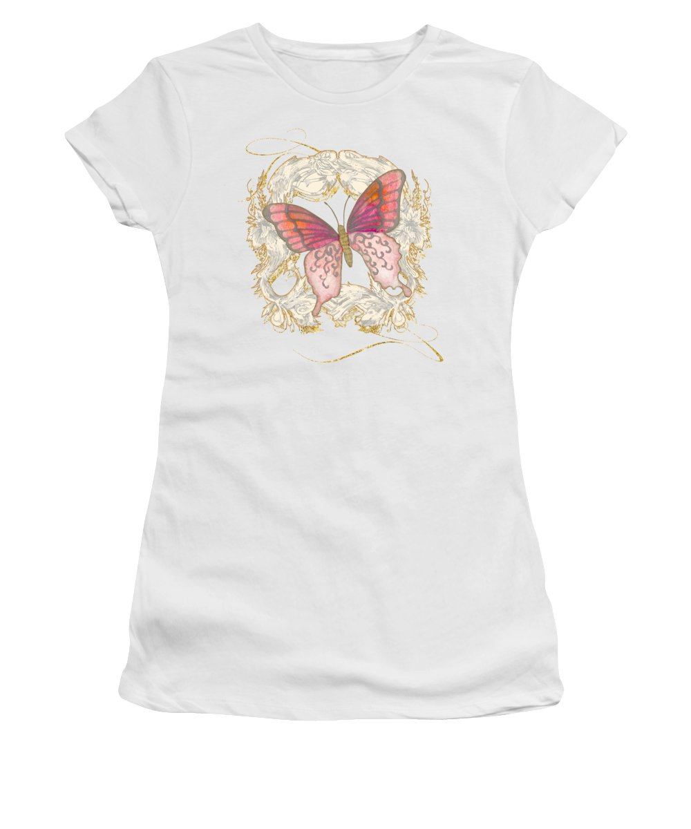 Vintage Women's T-Shirt featuring the painting Watercolor Butterfly With Vintage Swirl Scroll Flourishes by Audrey Jeanne Roberts