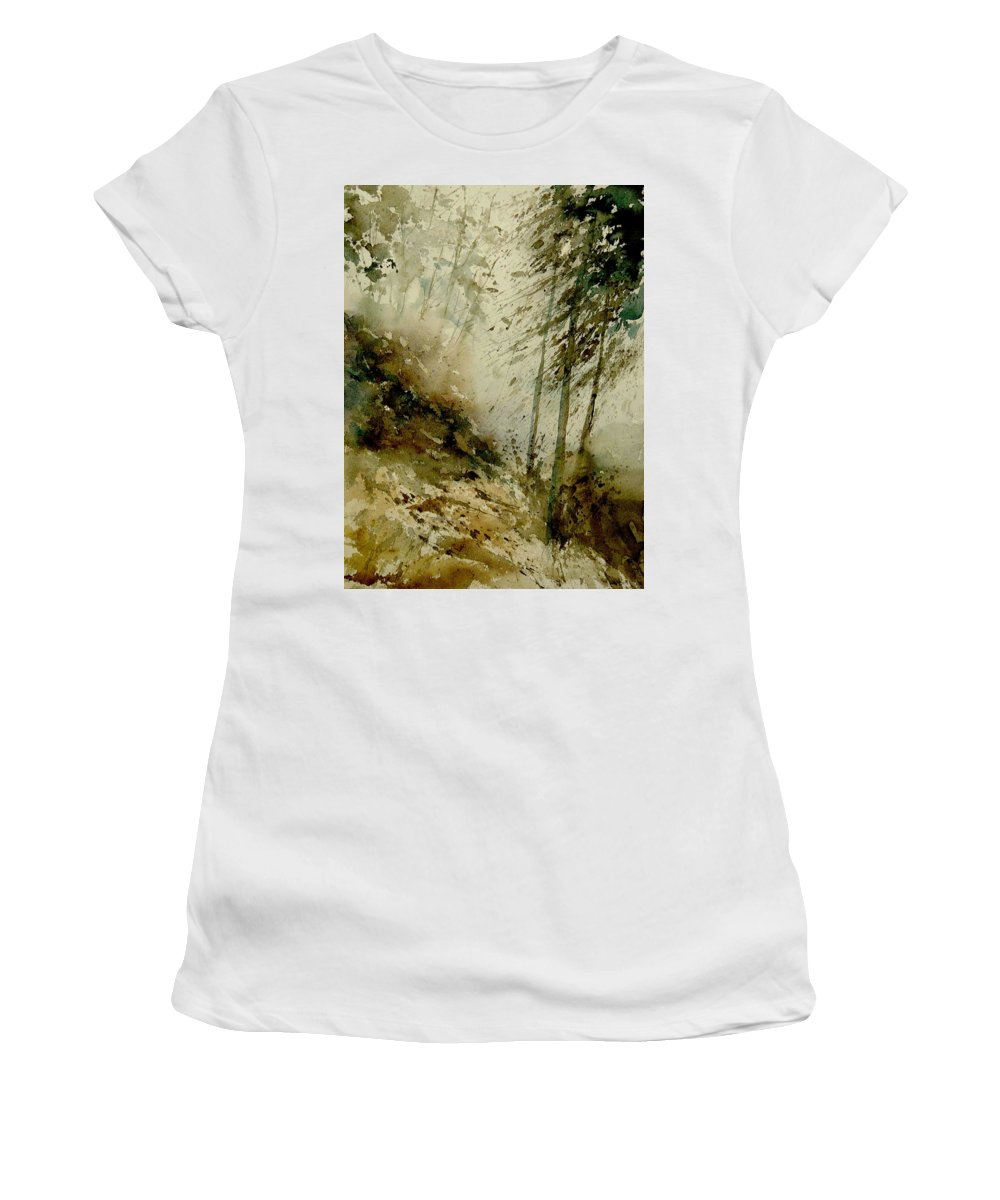 Landscape Women's T-Shirt (Athletic Fit) featuring the painting Watercolor Misty Atmosphere by Pol Ledent