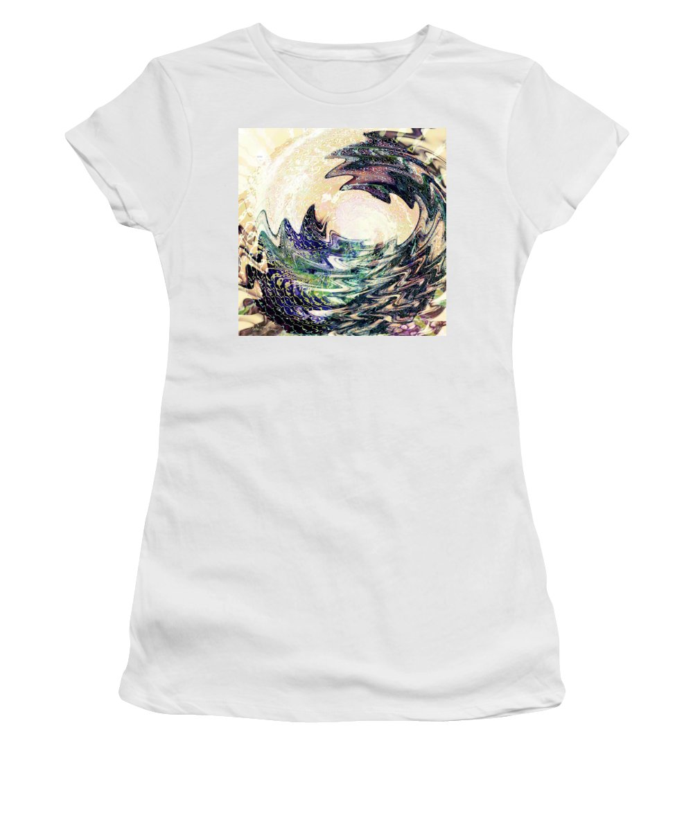 Ocean Women's T-Shirt (Athletic Fit) featuring the digital art Wave by Barbara Berney