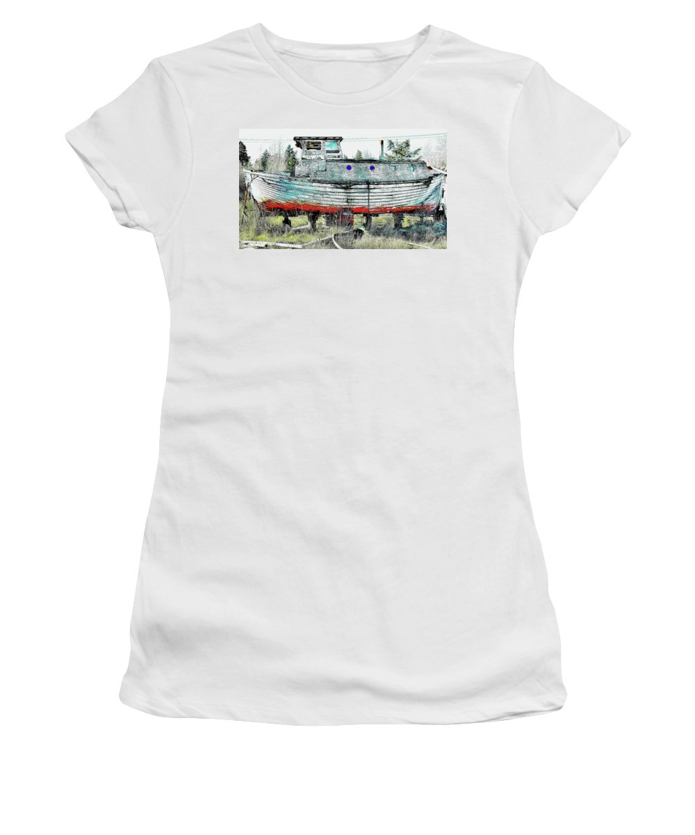 Boat Women's T-Shirt (Athletic Fit) featuring the photograph Wayward Girl by G A Fuller Photography
