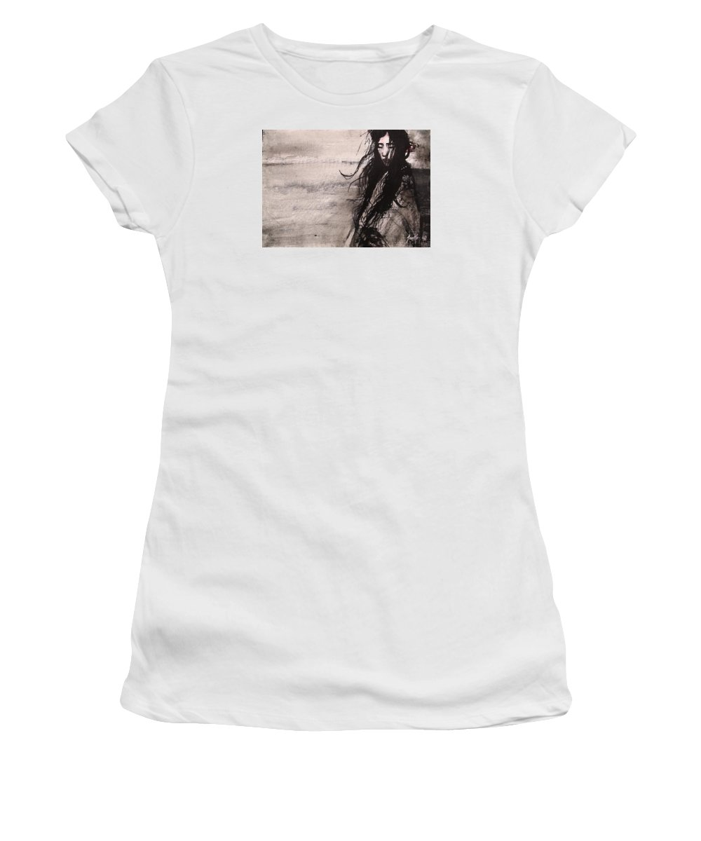 Portrait Art Women's T-Shirt (Athletic Fit) featuring the painting We Dreamed Our Dreams by Jarmo Korhonen aka Jarko