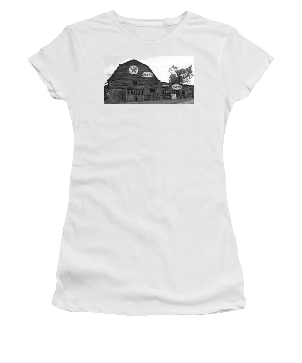 Black And White Women's T-Shirt (Athletic Fit) featuring the photograph Weathered And Faded by Ali Baucom