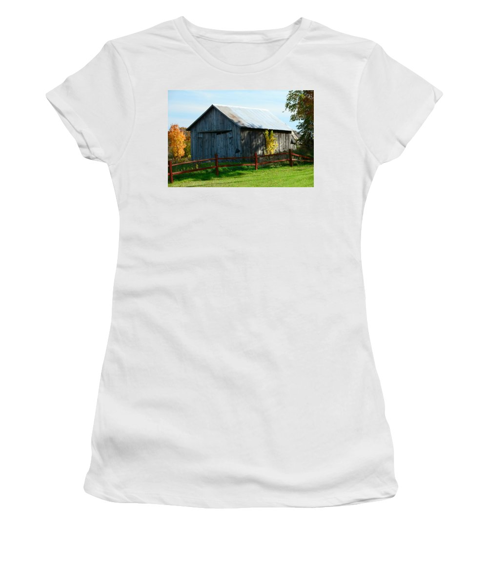Garage Women's T-Shirt (Athletic Fit) featuring the photograph Weathered Garage N Fall by Stephen Path