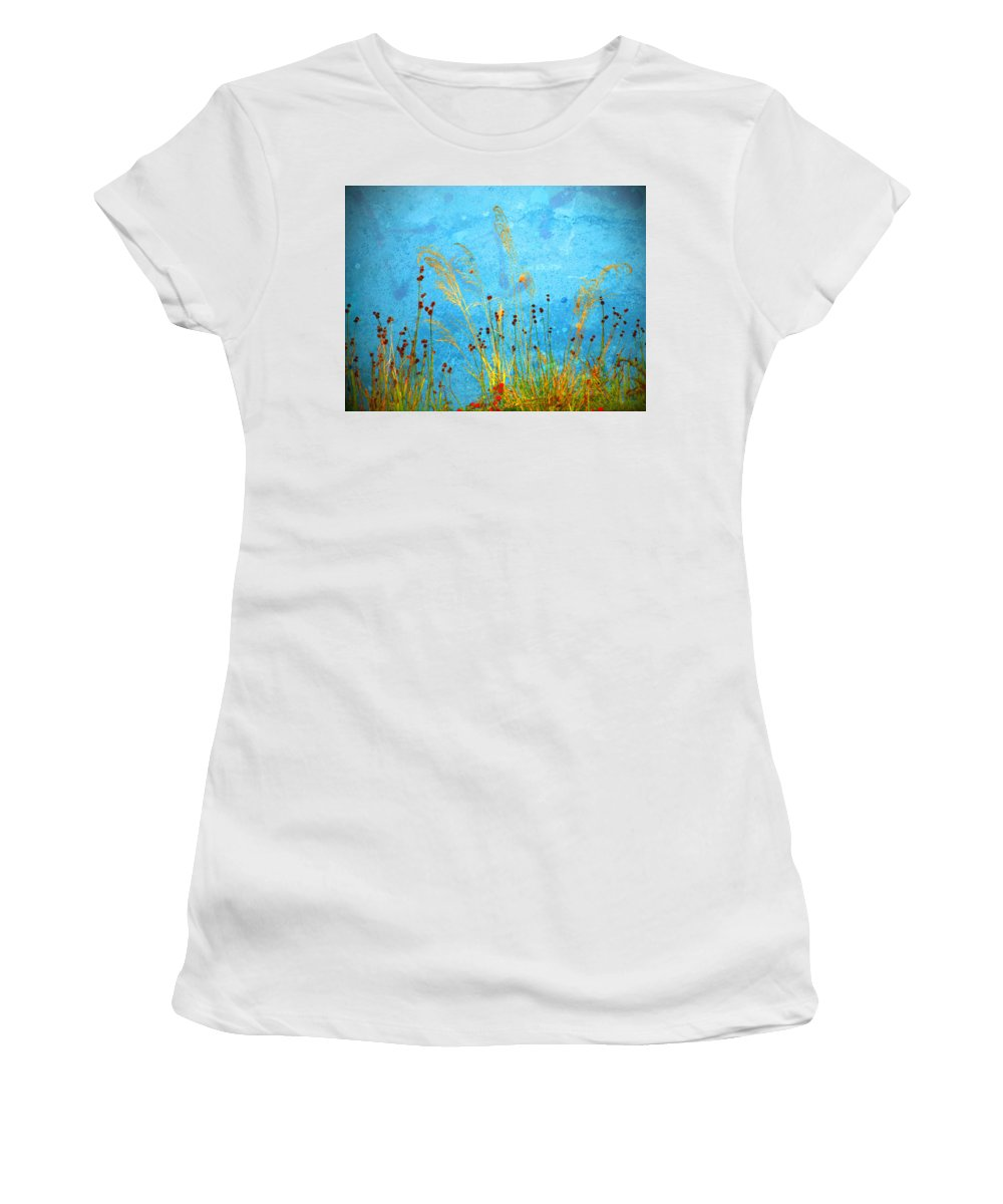Weeds Women's T-Shirt (Athletic Fit) featuring the photograph Weeds And Water by Tara Turner