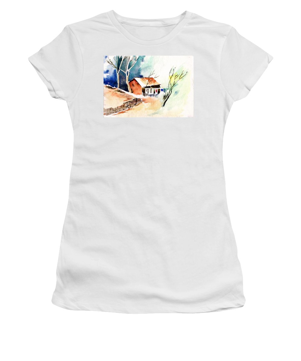 Nature Women's T-Shirt (Athletic Fit) featuring the painting Weekend House by Anil Nene