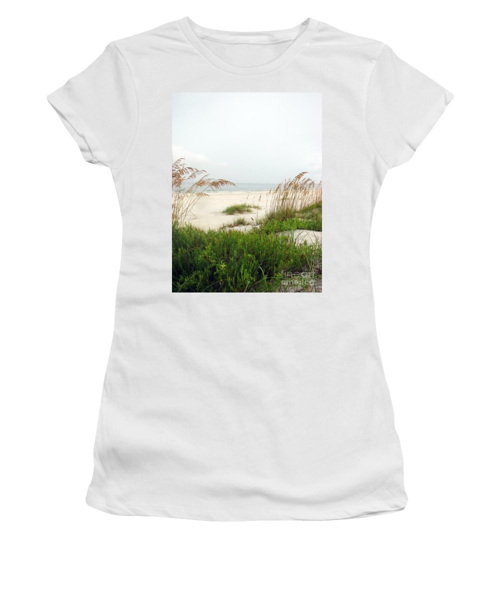 Beaches Women's T-Shirt (Athletic Fit) featuring the photograph Welcome by Amanda Barcon