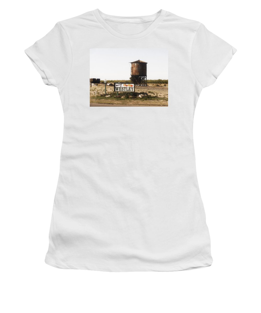Landscape Women's T-Shirt (Athletic Fit) featuring the photograph Welcome To Westley by Karen W Meyer