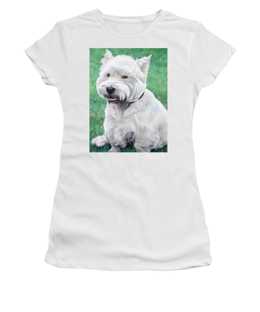 Dog Women's T-Shirt (Athletic Fit) featuring the painting West Highland Terrier by Nicole Zeug