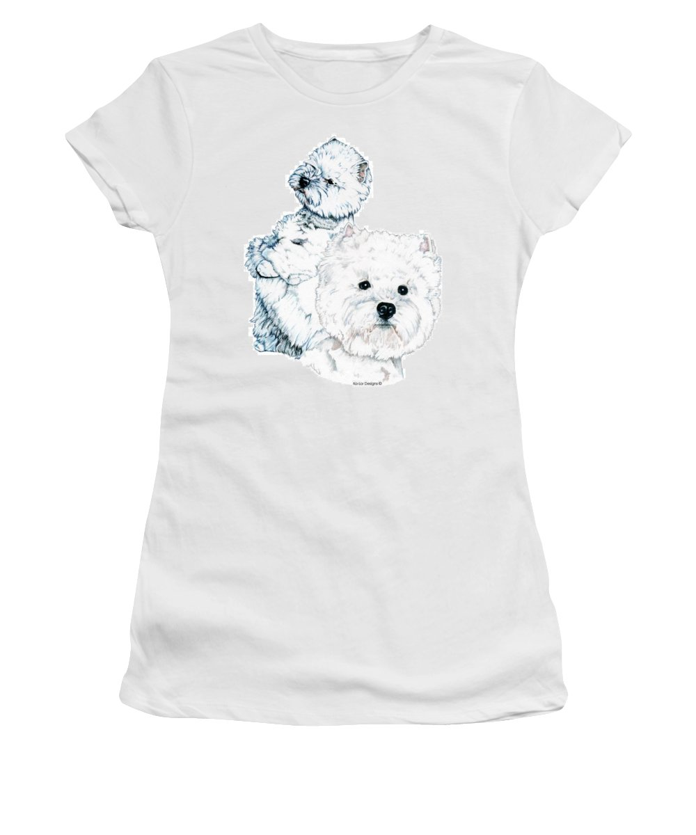 West Highland White Terrier Women's T-Shirt (Athletic Fit) featuring the drawing West Highland White Terriers by Kathleen Sepulveda