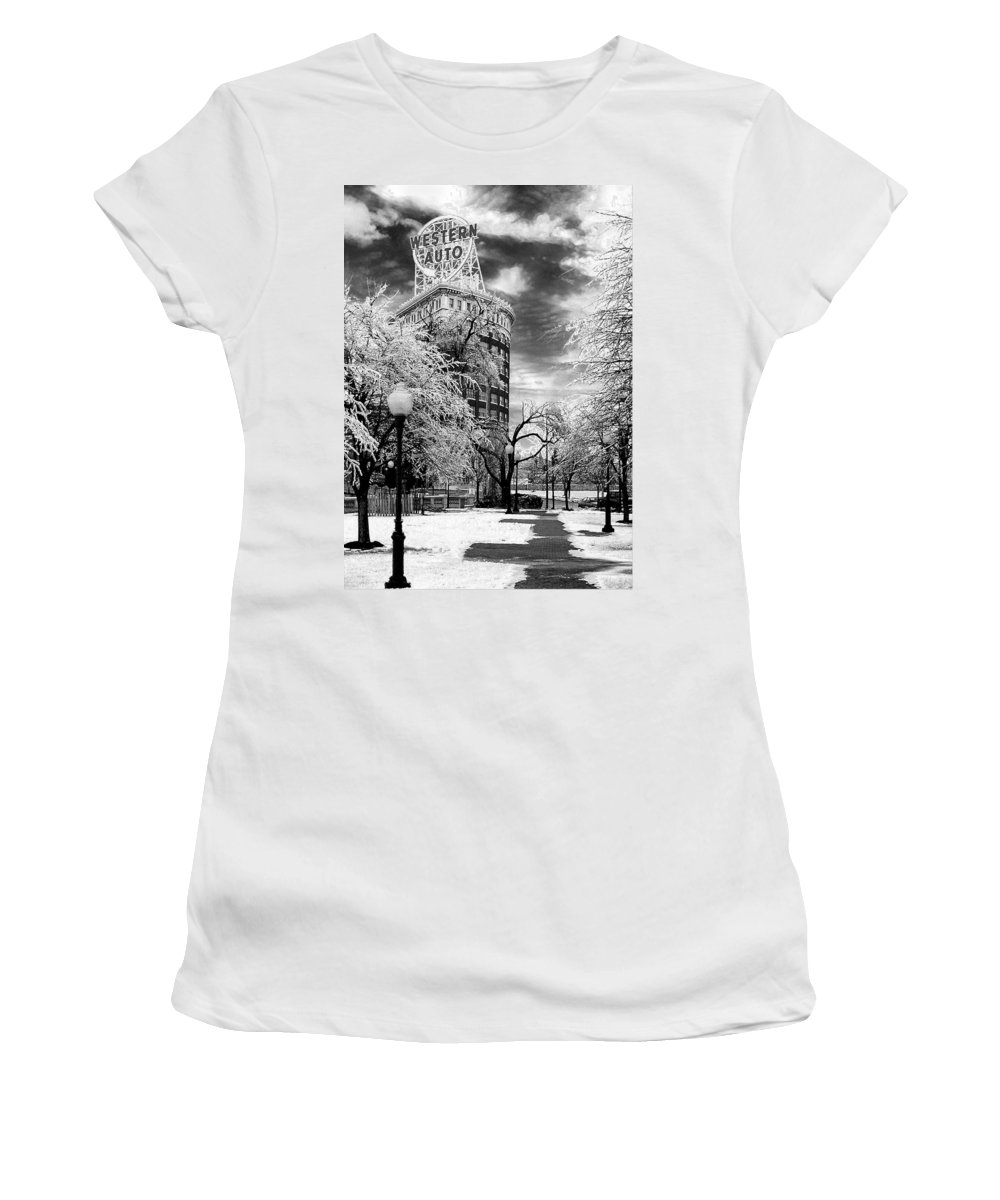 Western Auto Kansas City Women's T-Shirt featuring the photograph Western Auto In Winter by Steve Karol