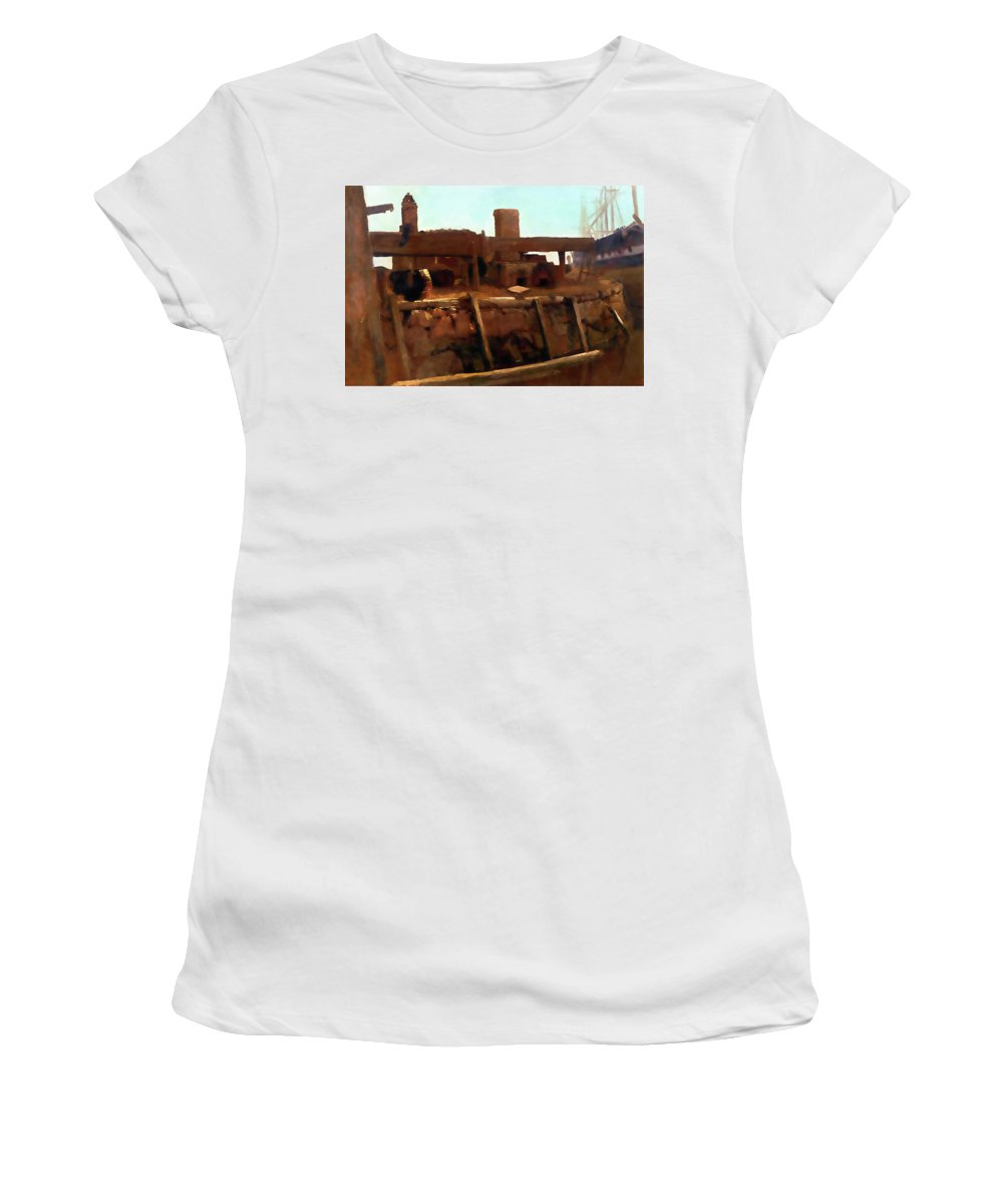 Wharf Women's T-Shirt (Athletic Fit) featuring the painting Wharf Scene by Media Impasto Paper