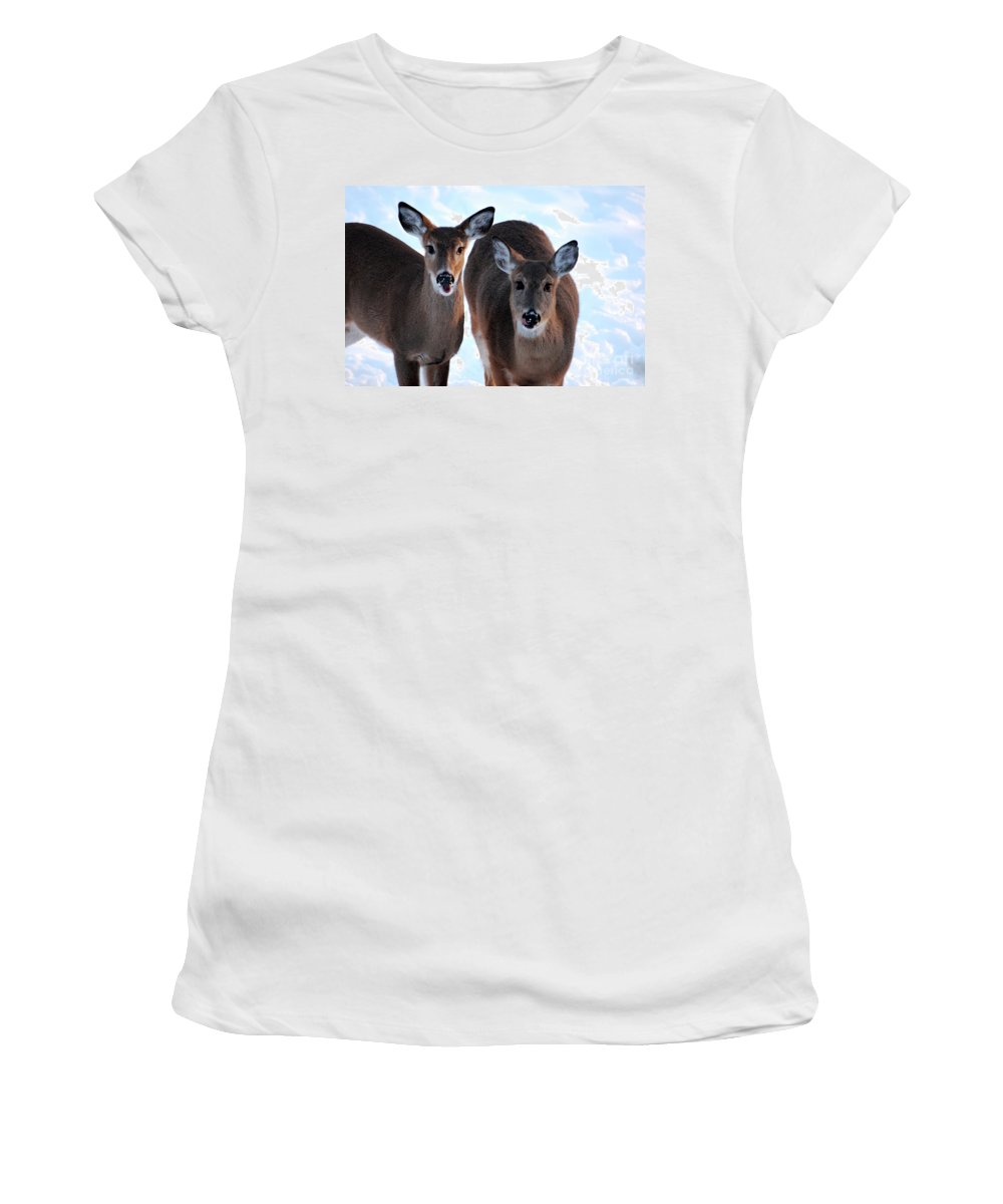 Deer Women's T-Shirt (Athletic Fit) featuring the photograph What Do You Say by Lori Tambakis