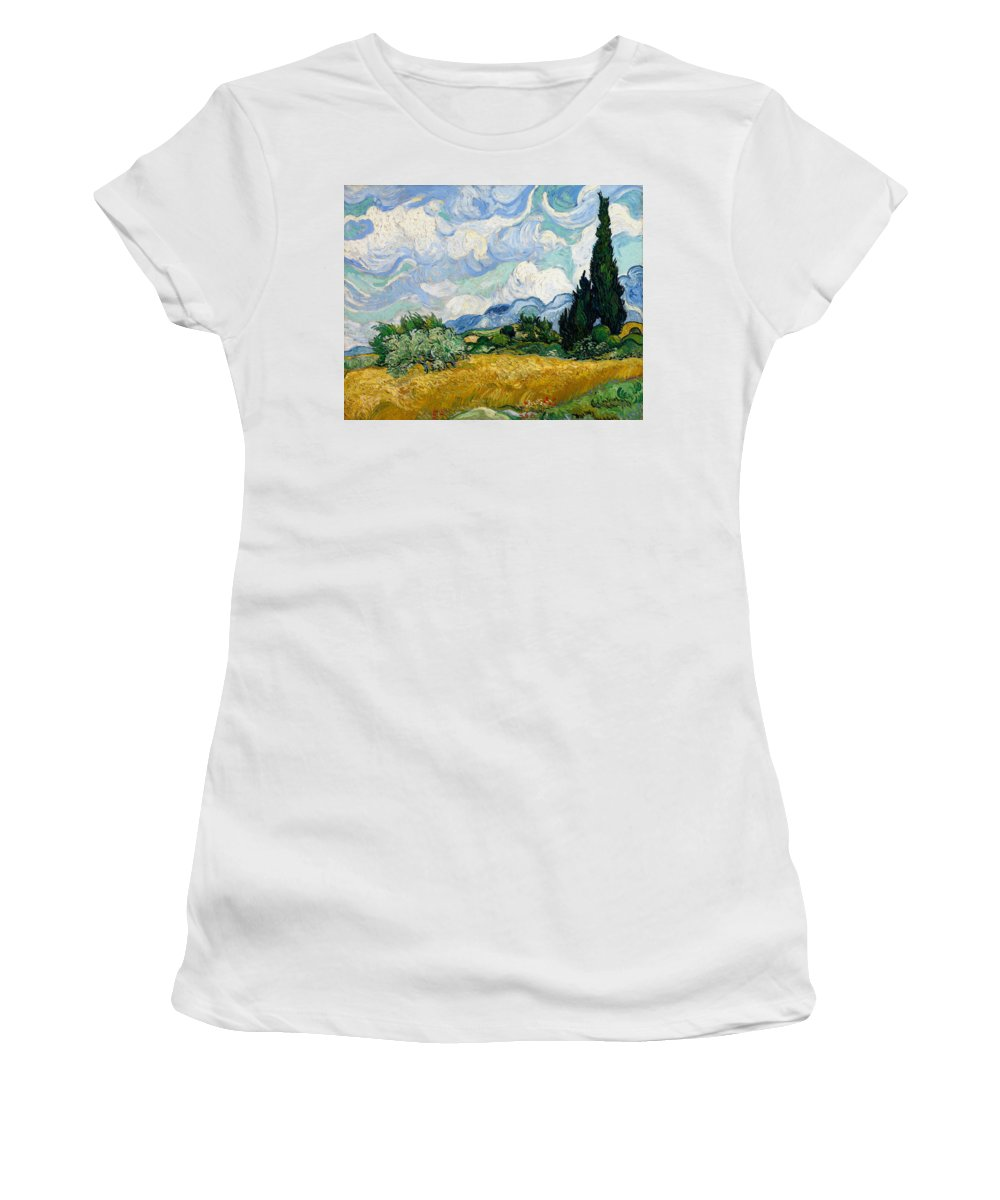 Van Gogh Women's T-Shirt featuring the painting Wheat Field With Cypresses by Vincent van Gogh